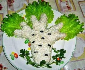 Красиво оформленный мясной салат